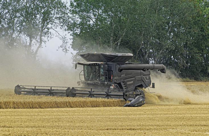 Fendt IDEAL 9T i gang med tærskning i en hvedemark.